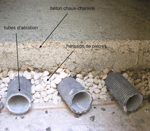 dalle en béton sur hérisson de pierres