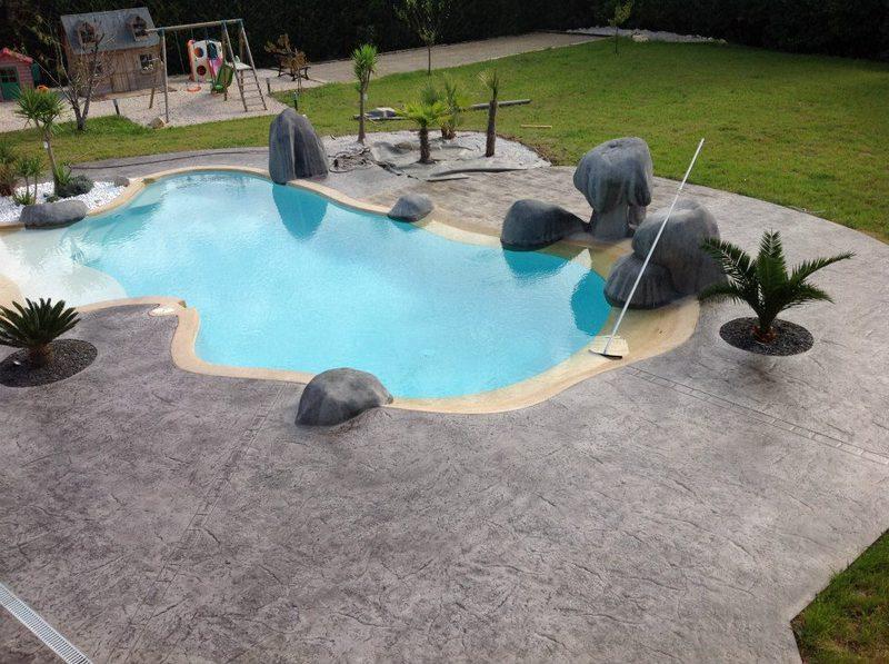 imitation marbre terrasse en béton imprimé